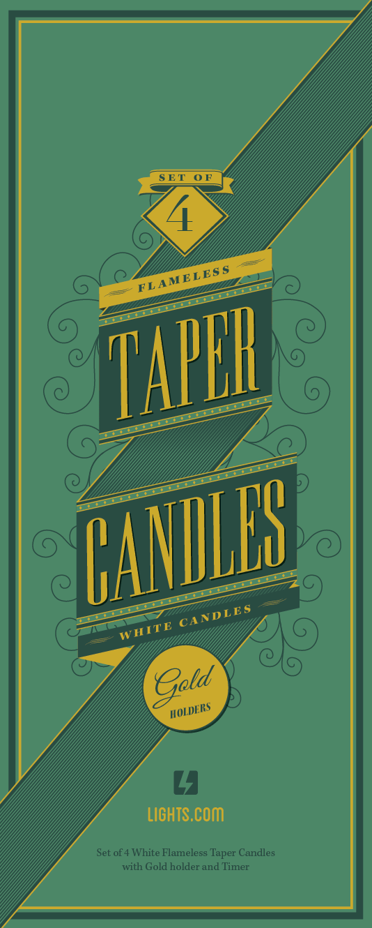 Lights.com Taper Candles Packaging